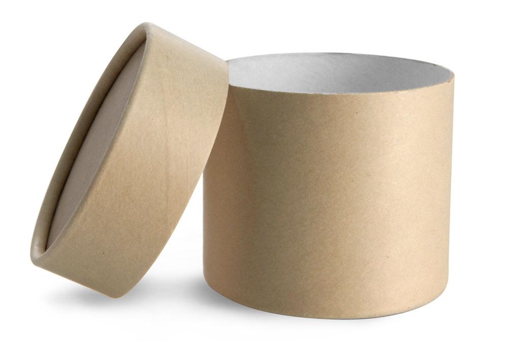 8 oz Brown Paperboard Jars w/ Flush Fit Lids