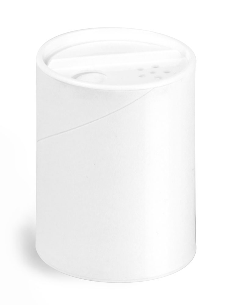 2 oz Paperboard Containers, White Paperboard Powder Tubes w/ White Sifter Caps