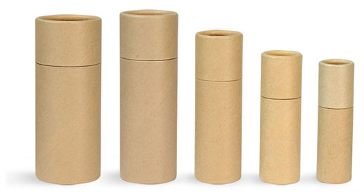 Paperboard Containers, Brown Paperboard Push Up Lip Balm Tubes