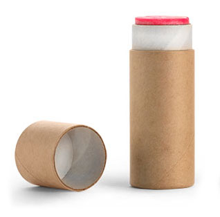 0.5 oz Brown Paperboard Push Up Lip Balm Tubes Containers with w/ rolled edge Flush Fit Lids