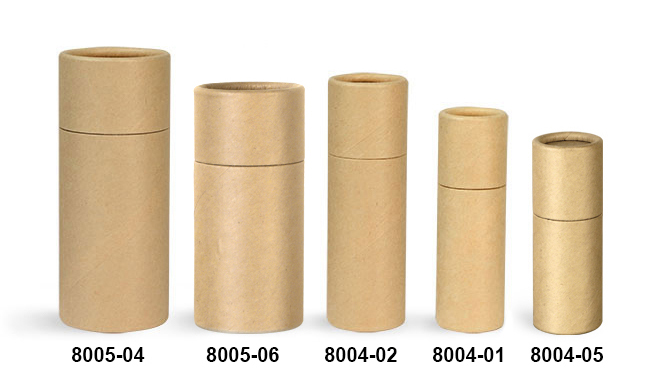 Paperboard Packaging, Brown Paperboard Push Up Lip Balm Tubes