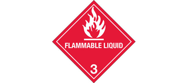 "Hazard Labels, Hazard Class 3 ""Flammable Liquid"" Printed Shipping Labels"