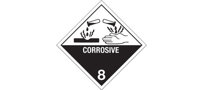 """Hazard Labels, Hazard Class 8 """"Corrosive"""" Printed Shipping Labels"""
