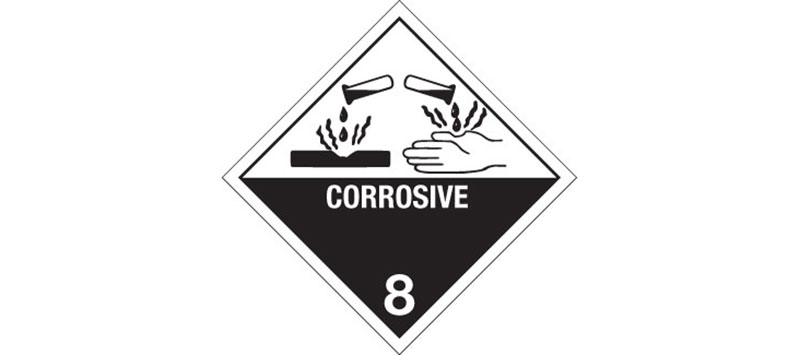 "Hazard Labels, ""Corrosive"" Hazardous Labels, Class 8"