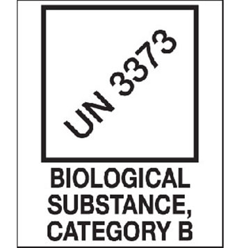 """Hazard Labels, """"Biological Substance, Category B"""" Printed Shipping Labels, UN 3373"""