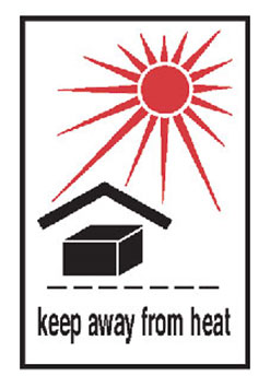"Hazard Labels, ""Keep Away From Heat"" Printed Shipping Labels"