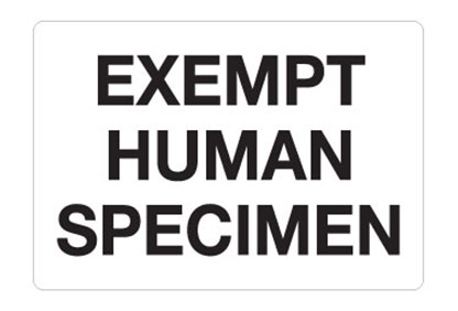 "Hazard Labels, ""Exempt Human Specimen"" Hazardous Labels"
