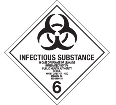 "Hazard Labels, Hazard Class 6.2 ""Infectious Substance"" Printed Shipping Labels"