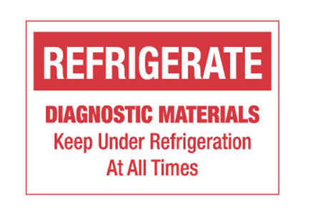 """Hazard Labels, """"Refrigerate Diagnostic Materials"""" Printed Shipping Labels"""