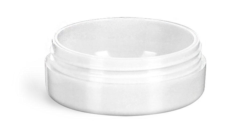 1/4 oz Plastic Jars, White Urea Cosmetic Containers (Bulk), Caps NOT Included