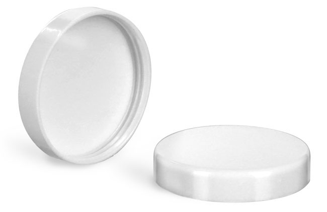 Plastic Caps, White Smooth Plastic PV Lined Caps