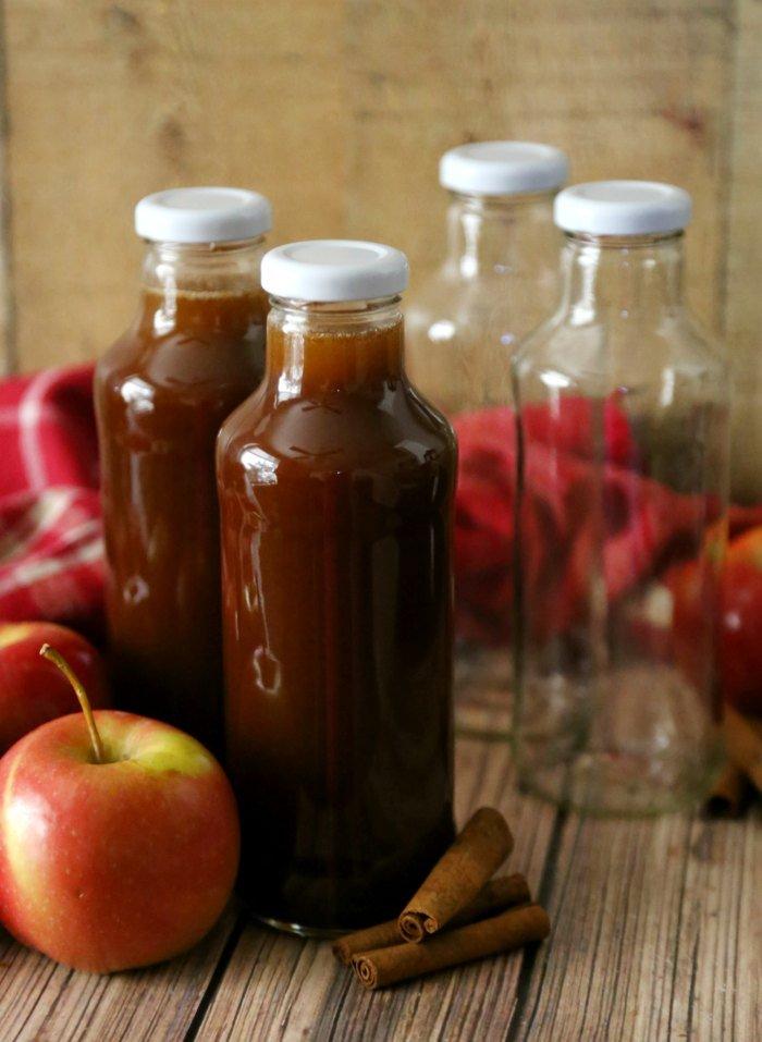 Apple Cider Syrup in Glass Beverage Bottles