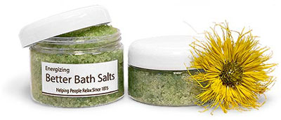 Plastic Bath Salt Jars w/ White Dome Caps