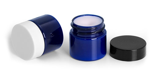 Blue PET Lip Balm Jars w/ Smooth Caps