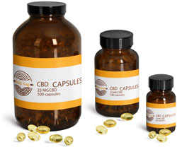 Amber Glass CBD Hemp Oil Capsule Bottles