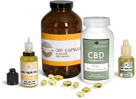 CBD Hemp Oil Capsule & Vape Liquid Bottles