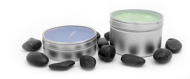 Metal Candle Tins With Clear Top Covers