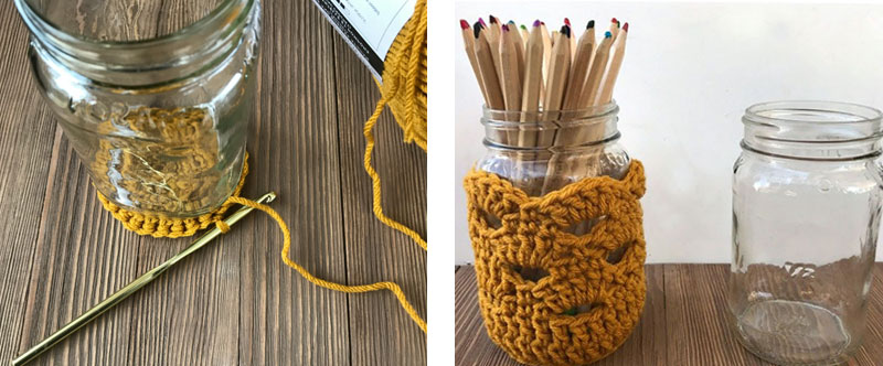 DIY - Crocheted Jar Covers with Glass Mason Jars