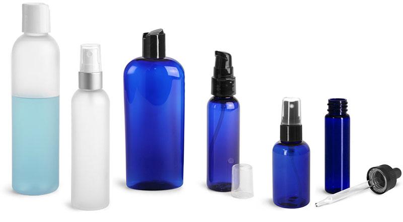 Frosted & Blue Plastic Bottles