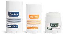 White Plastic Deodorant Tubes w/ Flat Caps