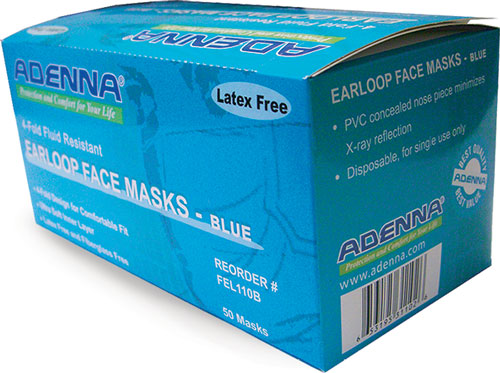 Face Masks, Blue Earloop 3-Ply Face Masks