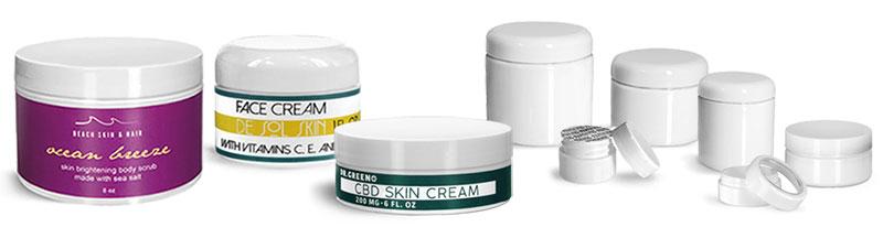 White Plastic Jars for Skincare
