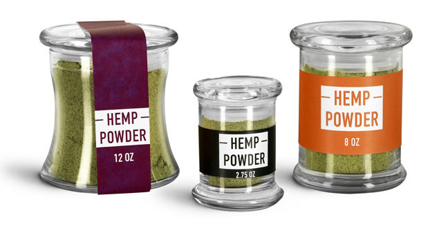 Glass Hemp Powder Jars