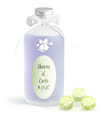 Frosted Glass Rounds With Silver Caps Wedding Favor Ideas
