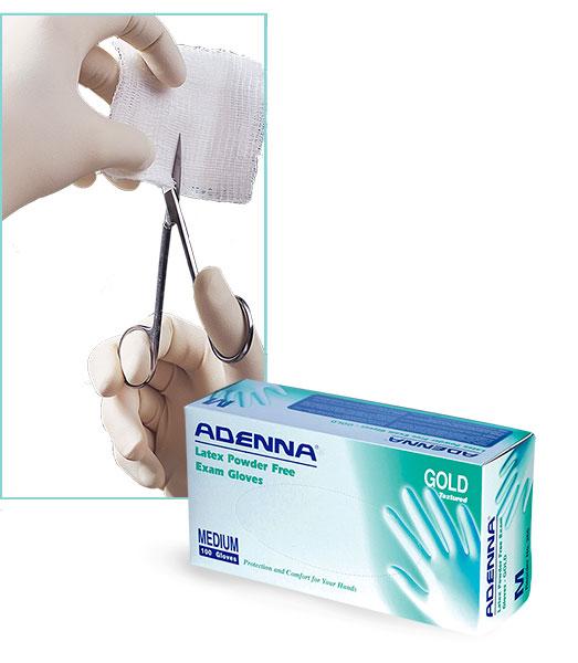 Latex Gloves, Gold Latex Powder Free On-Line Chlorinated Textured Exam Gloves