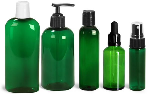 Green Plastic Jars with UV Protection