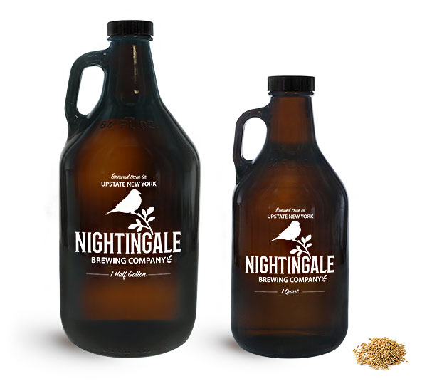 Beer Bottles, Amber Glass Beer Growlers