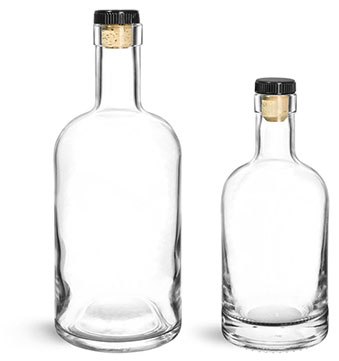 Bar Top Glass Bottles with Cork Stoppers