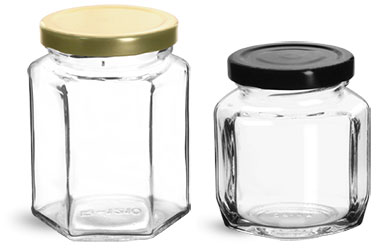 Clear Glass Hexagon and Oval Hexagon Jelly Jars