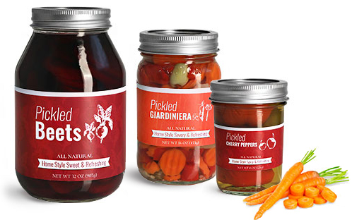Clear Glass Vegetable Pickling Jars w/ Silver Two Piece Canning Lids