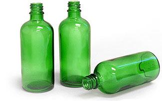 Glass Bottles, 100 ml Green Glass Round Bottles