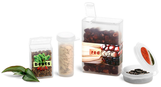 Natural Plastic Hinge Top Seed Containers