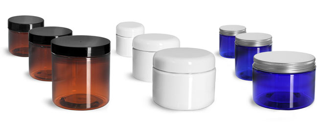 Amber, White, & Blue PET Jars