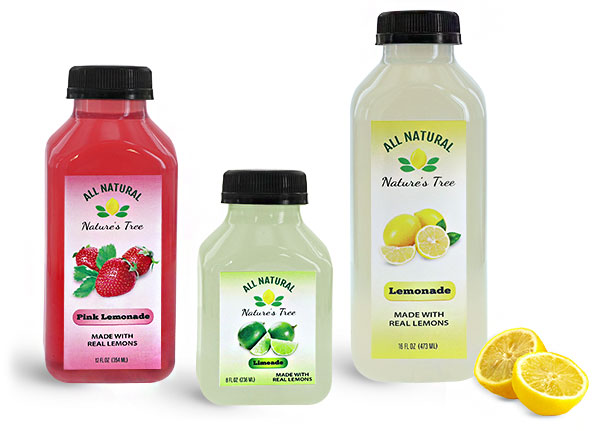 Juice Bottles, Clear Plastic Lemonade Bottles