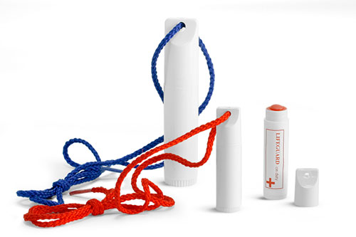 White Plastic Lip Balm Tubes and Lanyards