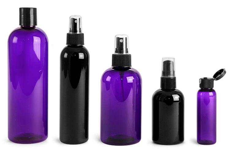 Purple & Black Plastic Bottles