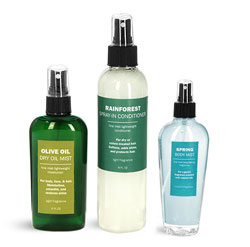 Clear and Green PET Body Spray Bottles
