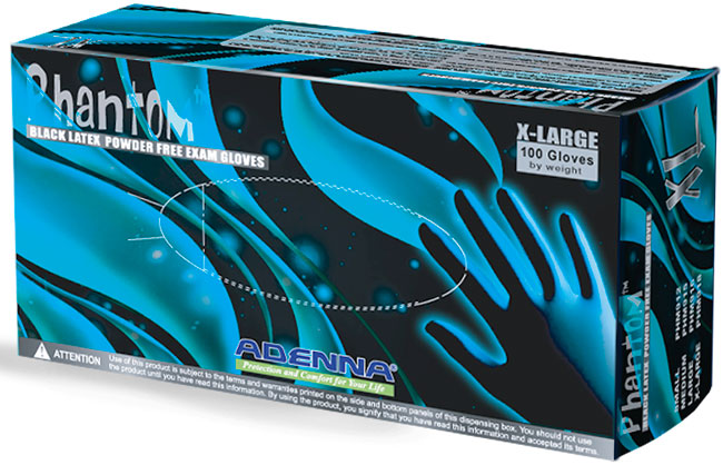 Latex Gloves, Phantom Black Latex Powder Free Exam Gloves