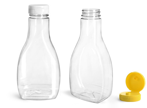 16 oz Clear PET Oblong Sauce Bottles