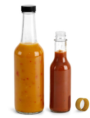 Clear Glass Woozy Style Sauce Bottles
