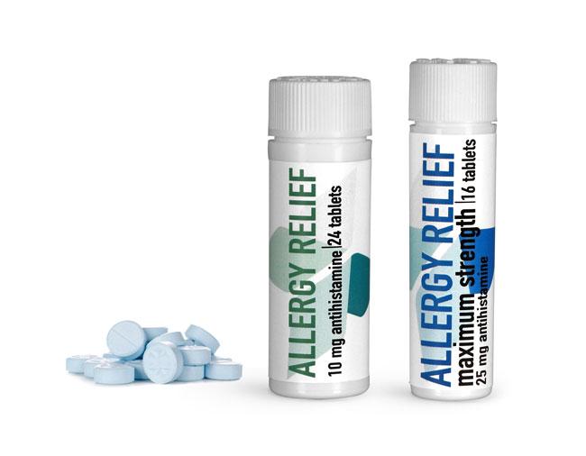 OTC Pharmaceutical Bottles, Allergy Relief Pill Vials