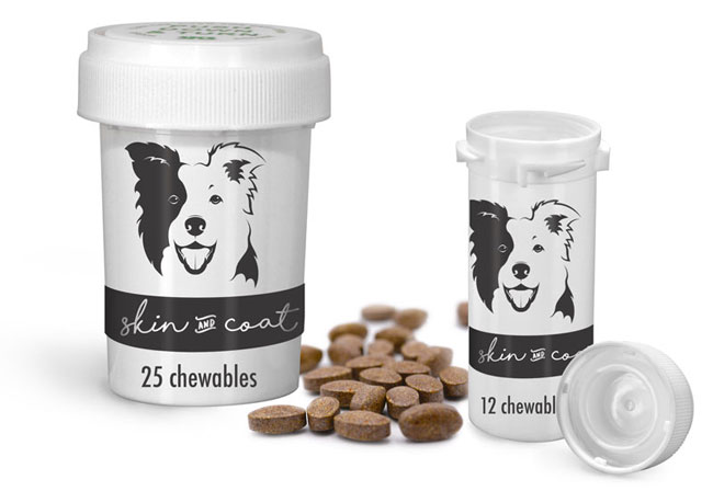 White Child Resistant Dog Tablet Vials w/ Reversible Caps