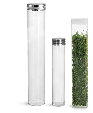 Clear Propionate Round Tubes with Silver Metal Screw Caps