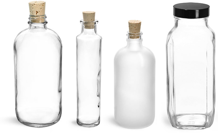 Glass Bottles & Glass Jars for Bath Salt Containers