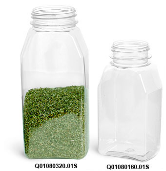 Plastic Bottles, Clear PET Spice Containers