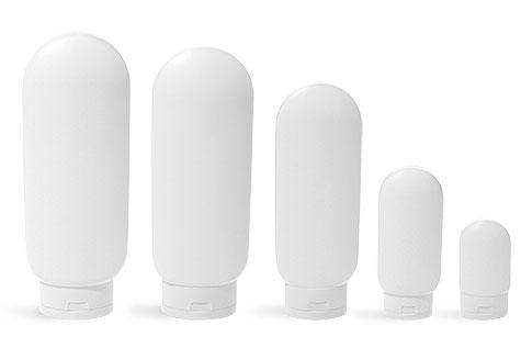 Plastic Bottles, White HDPE Tottles w/ Flip Top Caps